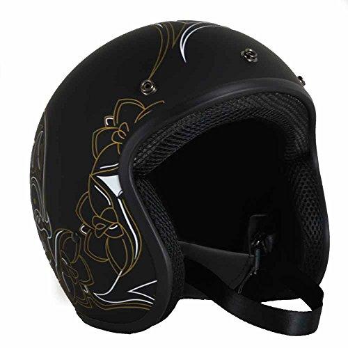 PGR B70 Retro PINSTRIPE Skull Black Motorcycle Open Face Bobber Chopper Rackus DOT Helmet Bell Biltwell … (Medium, Matte Black Gold)