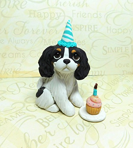 - Tri Cavalier Birthday party, Cavalier King Charles Spaniel art Sculpture Polymer Clay by Raquel at theWRC Dog Collectible