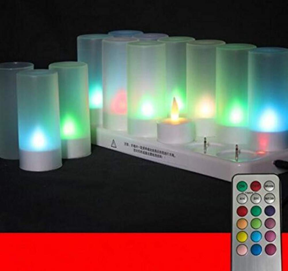 Best to Buy 12pack Rechargeable Flameless Votives Moving Flame Wick LED Tealight Candles with Charging Base and Remote Control-Multicolor