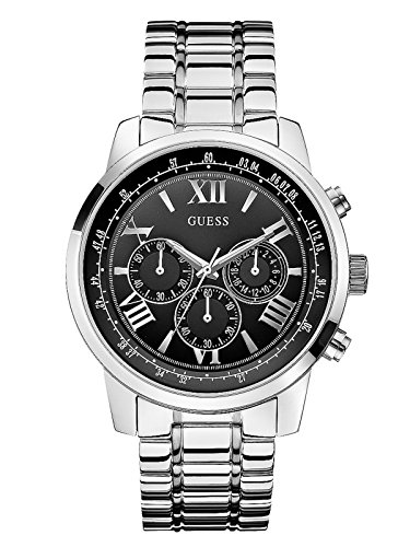 GUESS Factory Men's Black and Silver-Tone Classic Chronograph Sport Watch