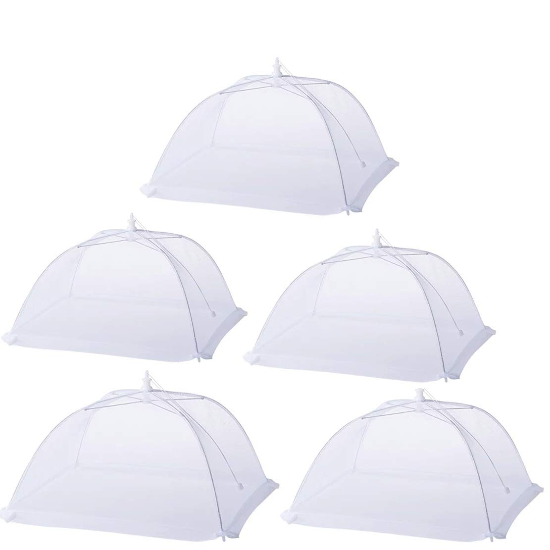 5 Pack Collapsible Fly Pop Up Net Food Cover Mesh Pop Up Mesh Screen Food Covers Tents Net Umbrella Storage for Outdoor (White) Florvine seller