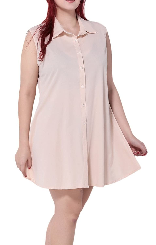 Bigood Plus Size Mode Ohne Armel Blusekleid Minikleid Cocktailkleid Party Kleid Pink