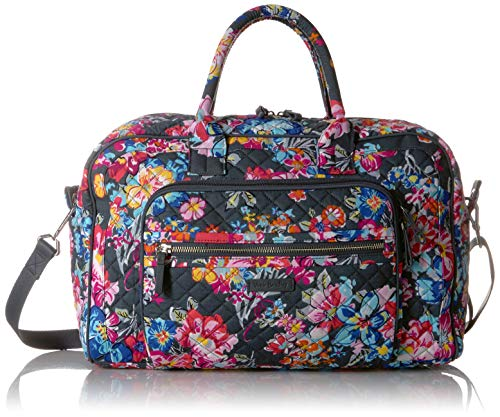 (Vera Bradley Iconic Compact Weekender Travel Bag, Signature Cotton, Pretty Posies)