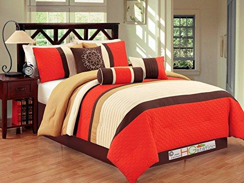 11-Pc Clover Trellis Floral Geometric Pleated Comforter Curtain Set Orange Brown Gold Off-White King price
