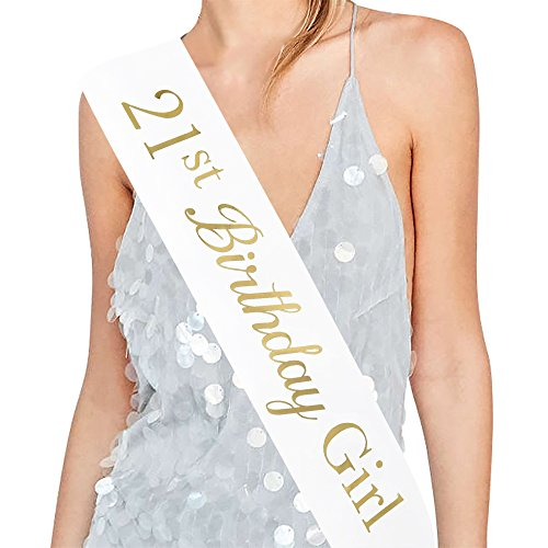 ADBetty 21st Birthday Girl Sash - 21st Birthday Sash Birthday Gifts Party Favours, Supplies and Decorations -