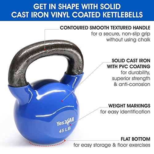 Yes4All Vinyl Coated Kettlebell Weights Set – Great for Full Body Workout and Strength Training – Vinyl Kettlebell 45 lbs by Yes4All (Image #2)