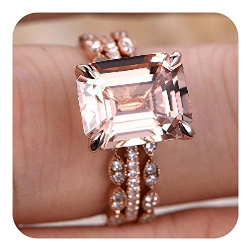 - RUDRAFASHION 9x11mm Emerald Cut Morganite & Diamond 18k Rose Gold Plated Art Deco Engagement Ring Bridal Set Claw Prong,Solitaire Ring Set,Half Eternity for Women