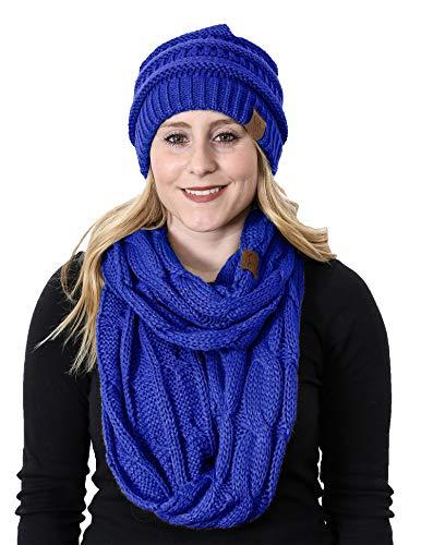 - aHS-6020a-57 Regular Slouchy Beanie Hat Matching Scarf Set Bundle - Royal Blue