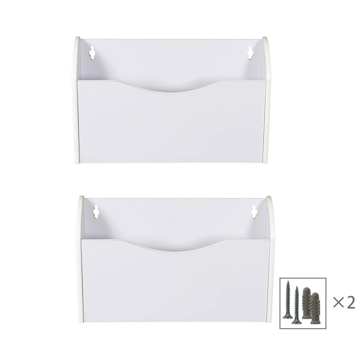 PAG 2 Pockets Hanging Wall File Holder Wall Mount Mail Organizer, White
