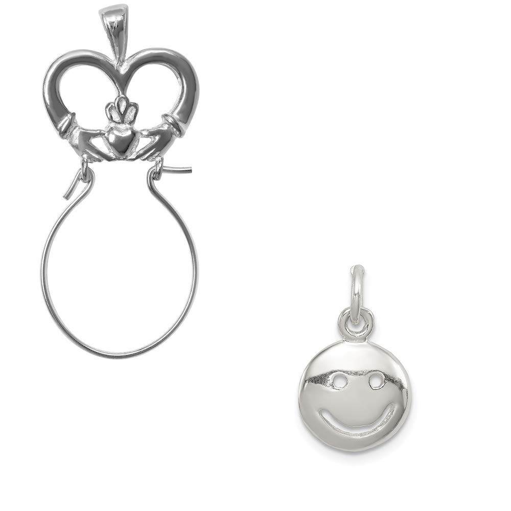 Mireval Sterling Silver Happy Face Charm on an Optional Charm Holder