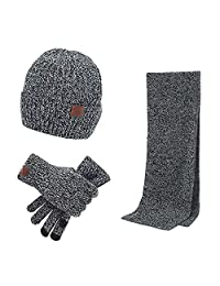 MAIPOETYRY Winter Men Knitted Set Knit Hat Long Scarf Touch Screen Gloves Gift Set