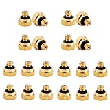 20 Pack Brass Misting Nozzles Replacement Heads, Low Pressure Atomizing Misting Sprayer for Patio Lawn, Landscaping, Dust Control, Outdoor Cooling Mister System, 0.016'(0.4mm) Orifice, 10/24 UNC