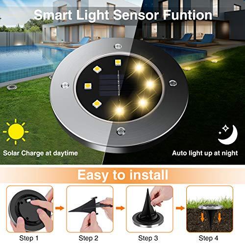 MAPLEZ Solar Ground Light 8 LED Solar Outdoor Lights Disk Light Waterproof for Garden Yard Patio Pathway Lawn Driveway Walkway 8 Packs Warm White