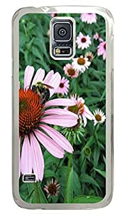 Samsung S5 case carrying Purple Flowers 3 PC Transparent Custom Samsung Galaxy S5 Case Cover