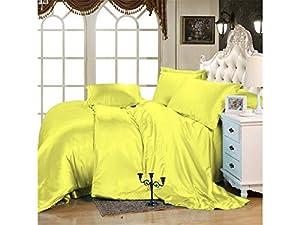 Kanak Bedding Luxurious Ultra Soft Silky Satin 7-Piece Bed Sheet Set with Duvet Set Short Queen, Yellow