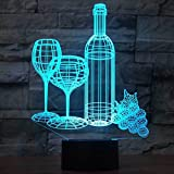 Wine Cup Bottle 3D Night Light Touch Switch Table Desk Optical Illusion Lamps, YKL World USB 7 Color Changing Acrylic Flat Lights Birthday Gift Toys Home Bedroom Bedside Decoration