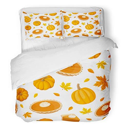 SanChic Duvet Cover Set Beige Thanksgiving Pumpkin Pies and Brown Dessert Pattern Decorative Bedding Set with 2 Pillow Cases Full/Queen Size -
