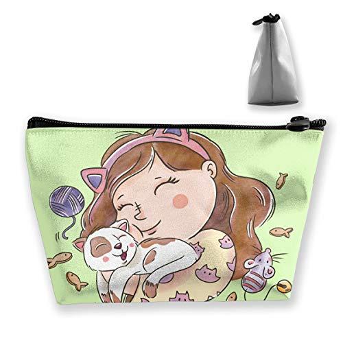 Bag Hugging Bean (pengyong Girl Smiling Hugging Makeup Bag Large Trapezoidal Storage Travel Bag Wash Cosmetic Pouch Pencil Holder Zipper Waterproof)