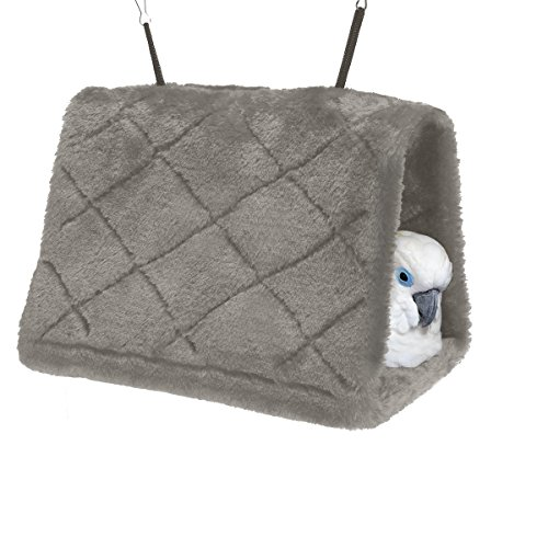 Bird Bed (MEWTOGO Bird Nest Hammock Parrot Hanging Snuggle Cave for Cage in Grey M size)