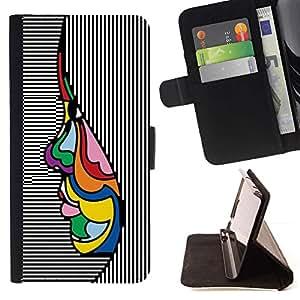 For Apple (5.5 inches!!!) iPhone 6+ Plus / 6S+ Plus Case , Arte abstracto psicodélico Cara tinta de la pluma- la tarjeta de Crédito Slots PU Funda de cuero Monedero caso cubierta de piel