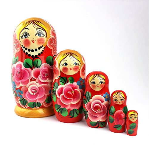 Heka Naturals Matryoshka Russian Nesting Dolls Classic Babushka Hand Made in Russia 5 Pieces Wooden Gift Toy (5 Dolls (18 cm) Roses)