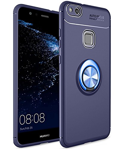 拷問顕微鏡政府スマホケース Huawei P10 Lite ケース 薄型 軽量 リング付き 耐衝撃 全面保護ケース 擦り傷防止 防指紋 高級感 ファーウェイP10ライト ケース スタンド機能 車載ホルダー対応 携帯ケース (Huawei P10 lite, ブルー)