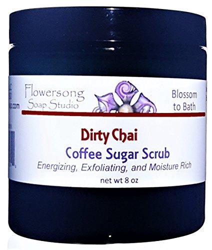 Flowersong Dirty Chai Coffee Sugar Scrub - Energizing, Exfoliating, and Moisture Rich -