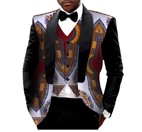 (Abetteric Men African Print Dashiki Vest Outwear Tops Batik Business Suit 16 XL)
