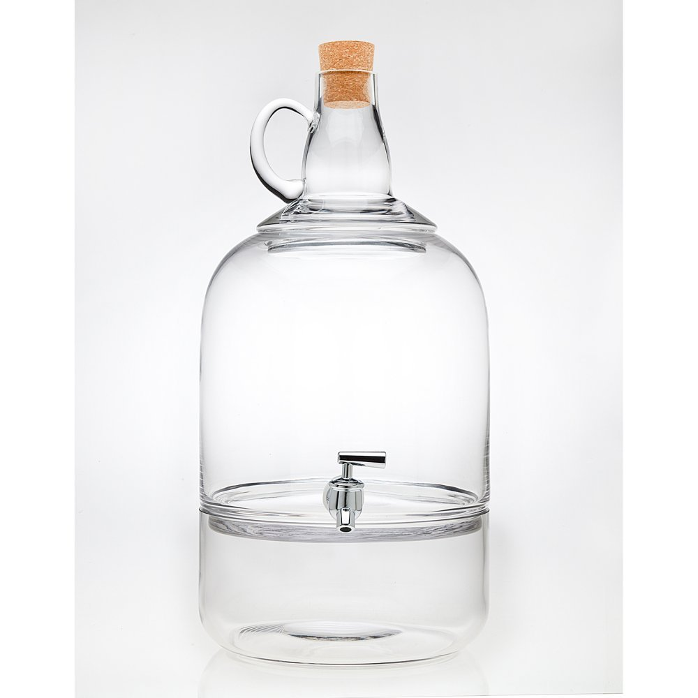 Godinger Sonoma Valley Beverage Dispenser with Bottom Ice Storage Section and Cork Jug Top