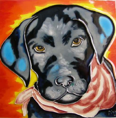 Continental Art Center BD-2170 8 by 8-Inch Black Dog with Red Background Ceramic Art -