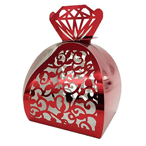 WOMHOPE® 50 Pcs – Jewelry Lock Vine Hollow Laser Cut Roses Flowers Wedding Candy Box Chocolate Candy Wrappers Holders Party Favors for Bridal Shower,Wedding,Party,Birthday Gift (Red (Reflect light))