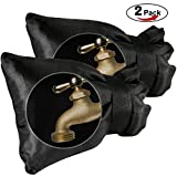 Faucet Sock, SUNDOKI Outdoor Faucet Cover Protector for Winter Wall Water spigot (2 Pieces-Black)