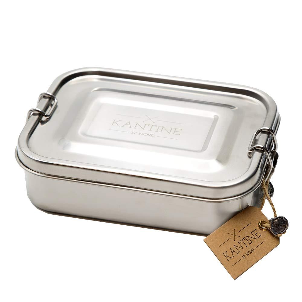 Kantine 51° Nord Lunchbox Classic | Brotdose aus Edelstahl | 100% plastikfrei, nachhaltig und gesund | Gut für Kinder, Erwachsene und die Umwelt | Perfekter Begleiter für Schule, Uni und Büro Uni und Büro C.R.A.F.T. Cologne GmbH