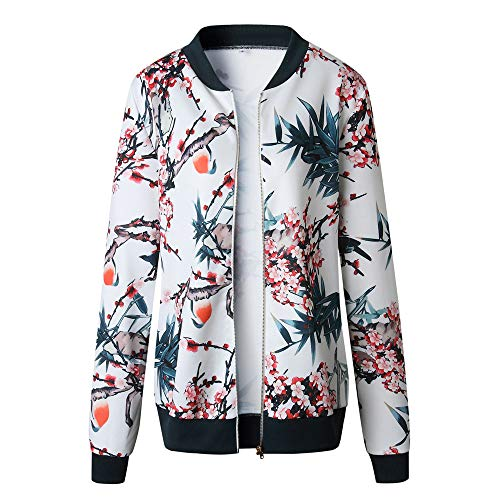 Femmes Femme Bleu Longues Veste Vjgoal Zipper Printemps Blouson Fleurs Chic Mode Autonme Jacket Fleuri Manches Blanc 4xC0q