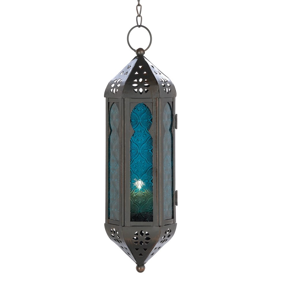 Gifts & Decor Ocean Blue Glass Azul Serenity Hanging Candle Lantern Home Locomotion 14691