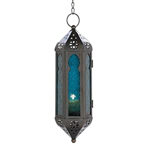 Gifts & Decor Ocean Blue Glass Azul Serenity Hanging Candle Lantern