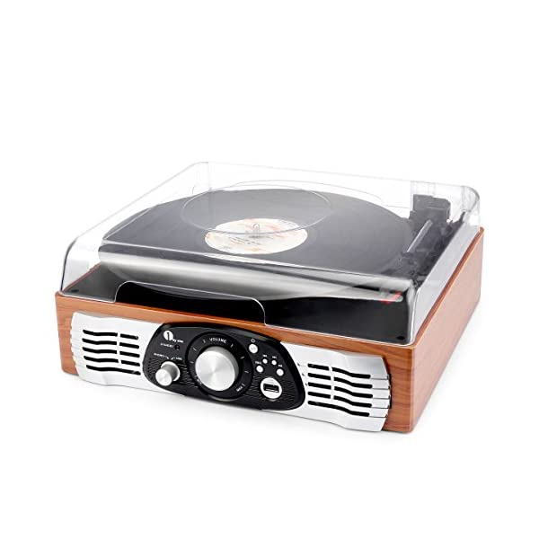 1byone Belt-Drive 3-Speed Stereo Turntable with Built in Speakers, Natural Wood 4