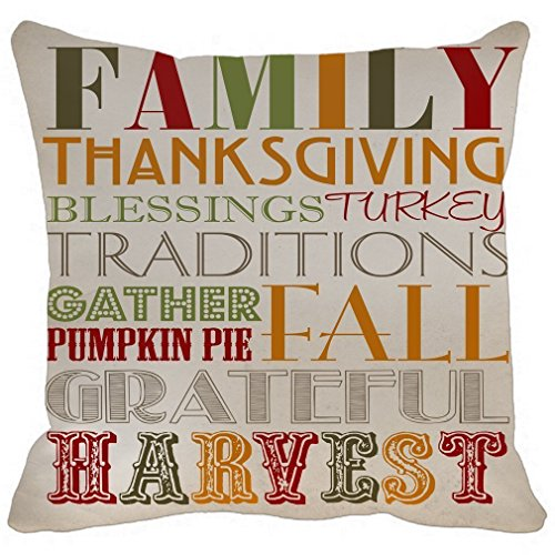 Decor Printable Home (Leaveland Pillow Case Family Thanksgiving Blessings Turkey Traditions Gather Pumpkin Pai Fall Grateful Harvest Printable Home Decor Linkwell Throw Pillowcase Pillow Cover 16 x 16 Inches)