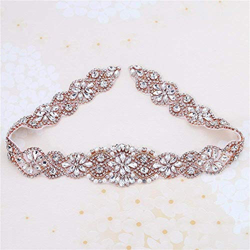 Bridal Rhinestone Appliques, FANGZHIDI 23.4 Inches Rose Gold Beaded Patches With Sparkle Clear Crystal Stone and Pearls- Best for DIY on Wedding Dress, Sew on or Iron on Bridal Belt Sash, Wedding Cake