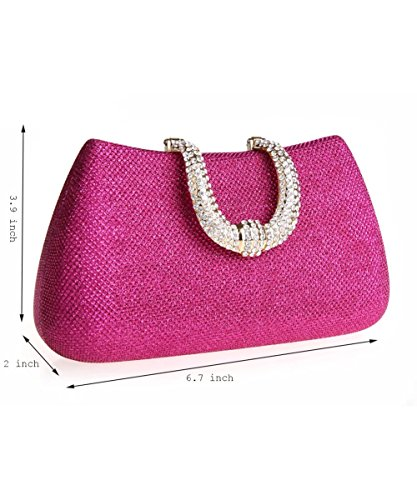 Champagne Bag Evening Clutch Cultch Womens Small Bag Bridal Puluo Rose Bag Handbags Rainestone with 7YAq0