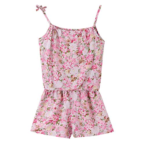 (ZHUANNIAN Baby Toddler Girls Shorts Set 2PCS Cami Tops and Pants Summer Boho Outfits (Pink Floral, 12-18 Months))