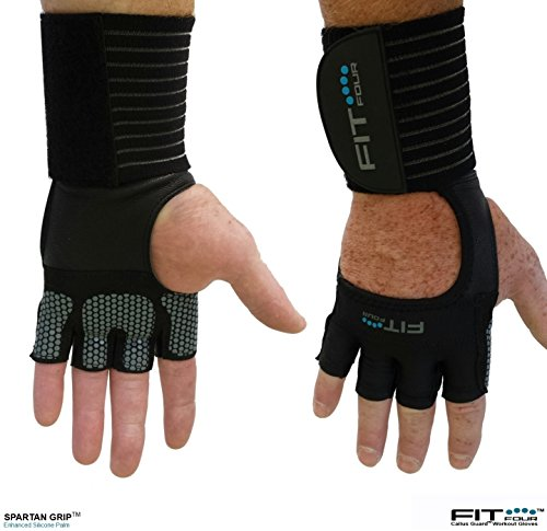 The F4X Spartan Grip - with Enhanced Silicone Palm | Fit Four Callus Guard WOD Workout Gloves for Weight Lifting & Cross Training Athletes (Grip, Large)