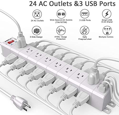 Power Strip 3-Sided with 24 Outlets, POWSAF Surge Protector 4100 Joules and 3 USB Ports 5V 3.4A, 17W , 8 Feet Heavy Duty Extension Cord 1875W 15A , ETL Listed, White