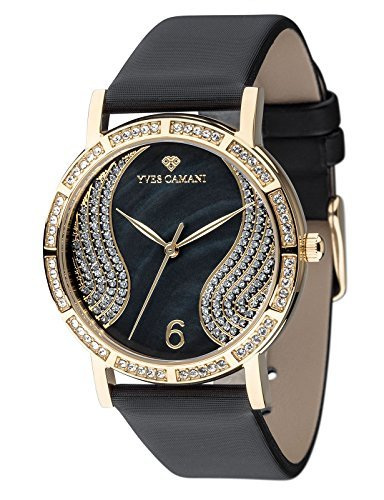 Yves Camani Mademoiselle Women's Wrist Watch Quartz Analog Dial Mother Of Pearl Gold Plated Stainless Steel Casing & Black Leather Strap