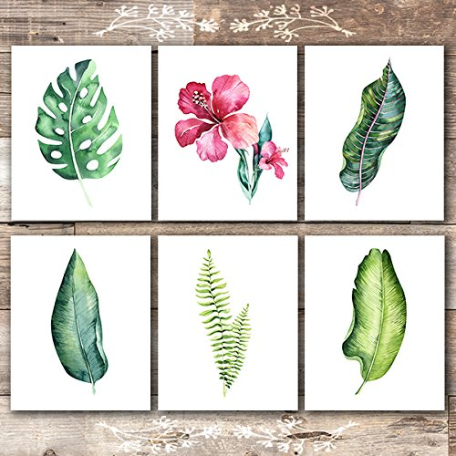 Tropical Wall Decor Art - Botanical Prints Wall Art - Tropical Leaves Wall Decor Art Prints - (Set of 6) - Unframed - 8x10s