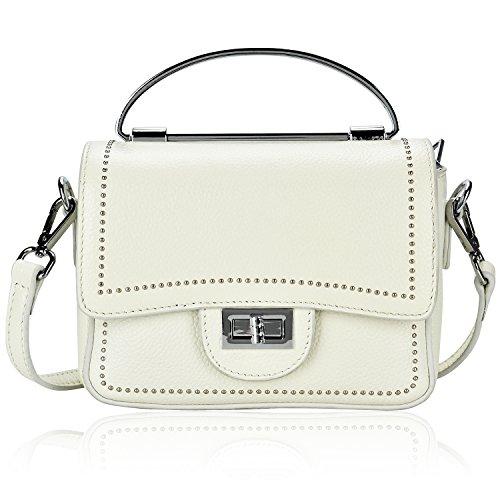 Leather Rivet Shoulder Bag Studded Crossbody Handbag Purses With Metal Top-Handle Women Dexmay (White)