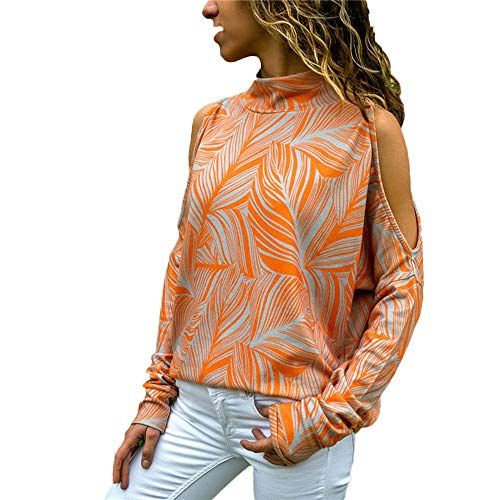 Xinantime Spring Summer Women Fashion Cold Shoulder Blouse Geometric Floral Print Jumper Ladies Top Shirts Orange