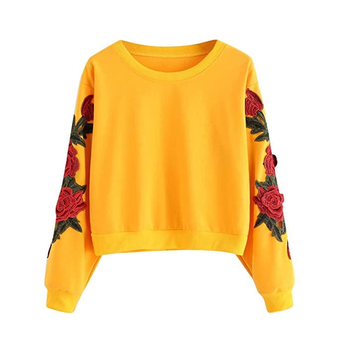 Sudaderas con Capucha para Mujer, Bordado de Rosas Sudadera Cortas Manga Larga para Mujer Camisetas Blusa Tops Mujer: Amazon.es: Ropa y accesorios