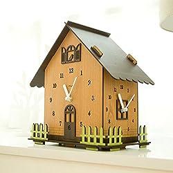 LLDDP-Wall Clock Double-Sided Wall Clock European Modern Two-Sided Clock Garden Mute Wooden Quartz Clock Wall Clock, Easy to Read, Unique Shape, Beautiful Home Decoration Mantel Clocks