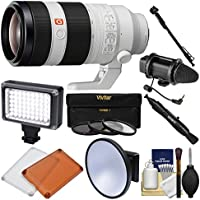 Sony Alpha E-Mount FE 100-400mm f/4.5-5.6 GM OSS Zoom Lens with Video Light + Microphone + Monopod + 3 Filters + Kit